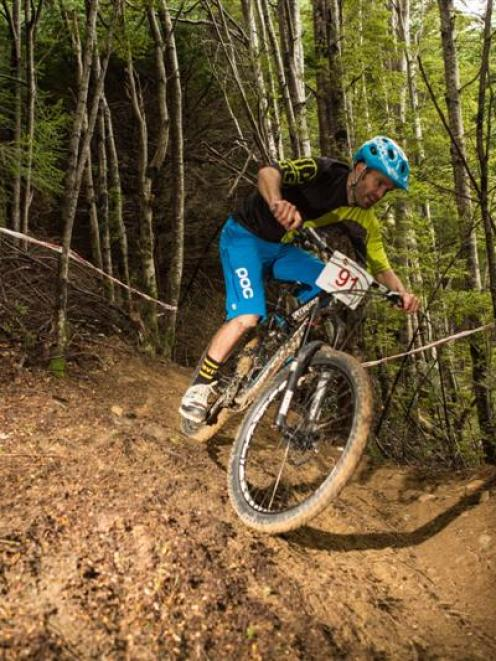 Queenstown's Jarna MacKenzie competes in the Super D Enduro at the Queenstown Bike Park on...