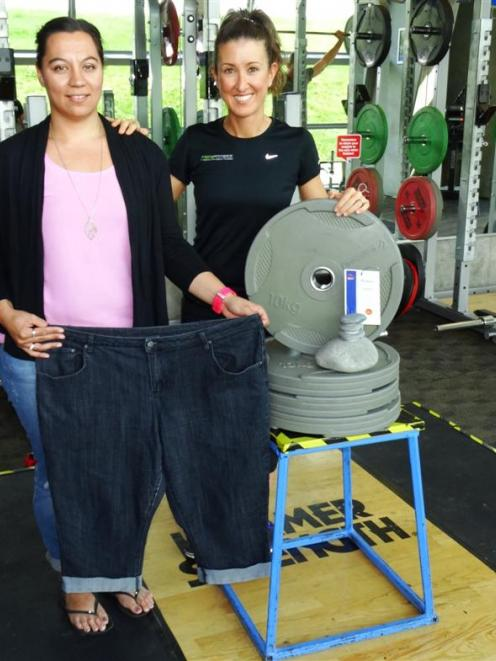 Queenstown's Leea Hirst (left) with her trainer, Ruth Wilkinson, of Prime Fitness.  Ms Hirst (31)...