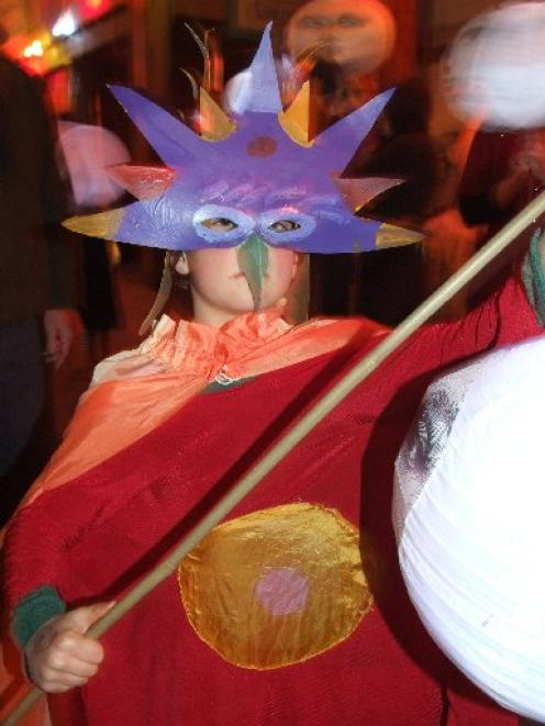 Ray Meech (8), of Oamaru, was a colourful participant in Oamaru's midwinter masquerade on...