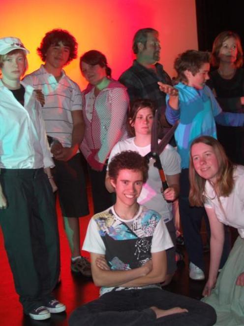 Rear (from left),Grace Middlemiss (17), Lewis Chellew (15), Tess Hazelhurst (16), Phil Powers,...