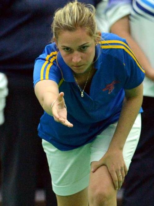Rebecca Jelley (North East Valley) in action at the Westpac Indoor Bowls Stadium. Photo by Gerard...