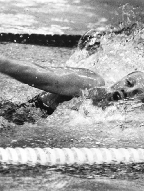 Rebecca Perrott winning the 100m freestyle at the New Zealand winter championships in 1979. Photo...