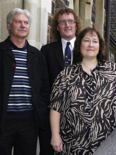 Recipients of University of Otago teaching awards, at the university, are (from left) marketing...