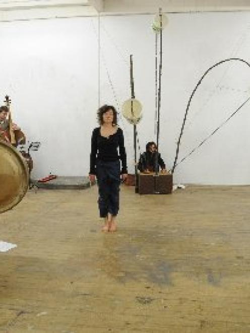 Rehearsing this week for +-=Touch are Motoko Kikkawa, Chris Schmeltz, Richard Scowen (obscured),...