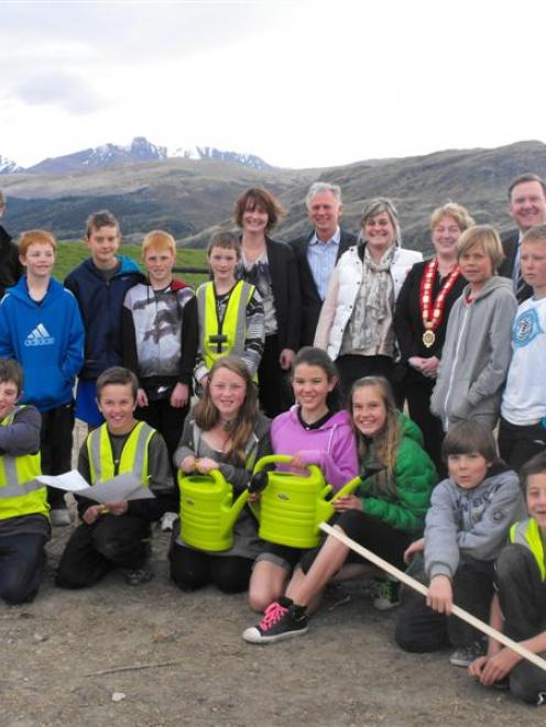 Remarkables Primary School pupils at their new  garden on Friday. Key helpers and sponsors of the...