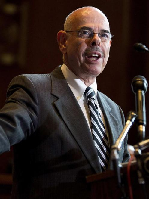 Representative Henry Waxman speaks during a news conference calling for no reduction in the...