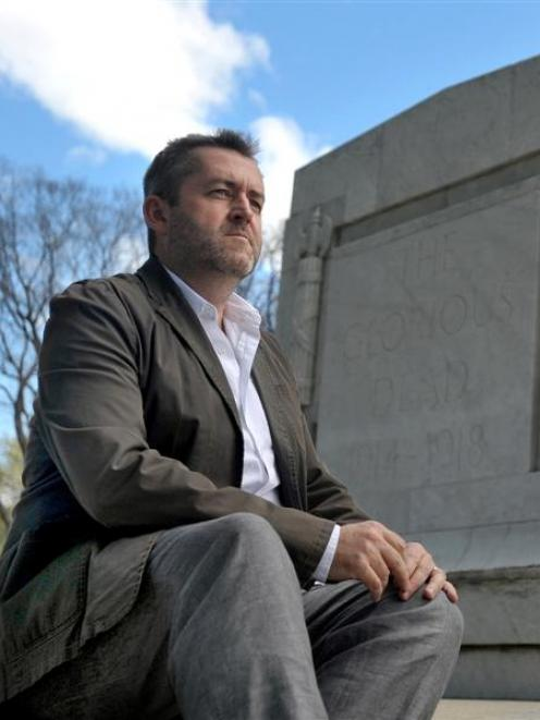 Requiem for the Fallen stage director Jonathan Alver at the Dunedin Cenotaph yesterday. Photo by...