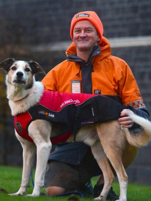 Rescue dog Fin and his handler, Dermot Mayock, will lend a hand at tomorrow's LandSAR appeal....