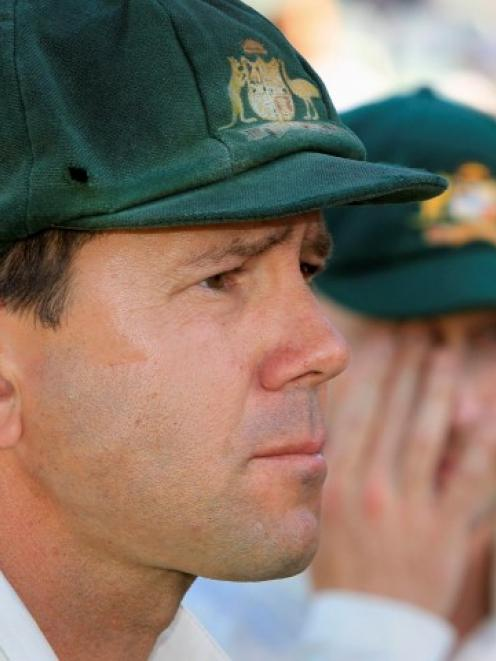 Retiring Australia cricket great Ricky Ponting gives an interview after the third test against...