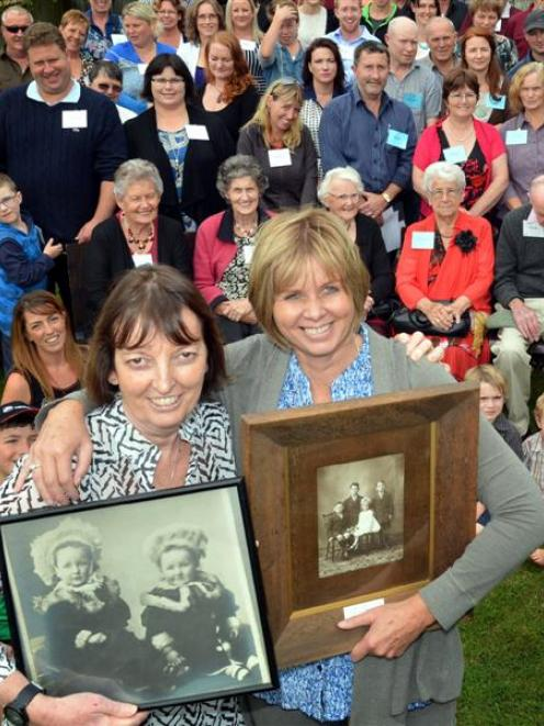 Reunion co-organisers Julia Ralston (left front), of the United States, and Janine Tansley, of...