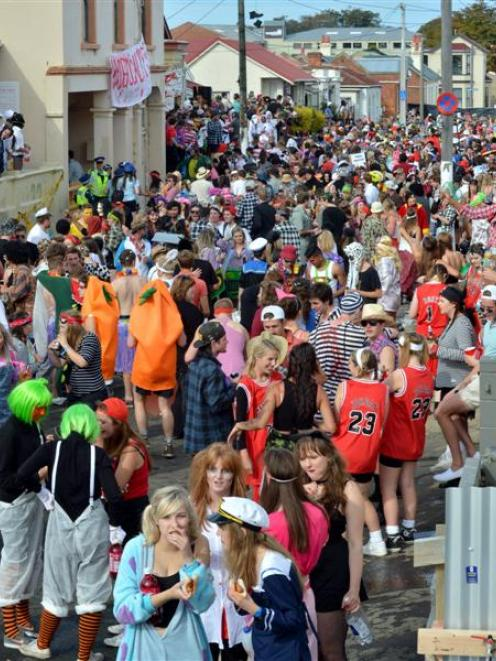 Revellers in Hyde St on Saturday. Photo by Eileen Goodwin.