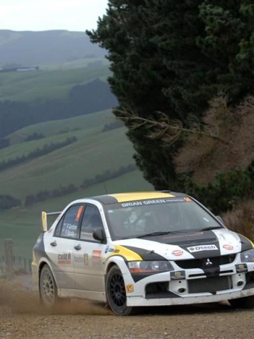 Rhys Gardner in action during the Rally of Otago.