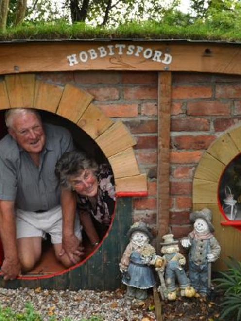 Richard (74) and Myra (71) Wells  occupy the hobbit hole in their  garden. Photo by Peter McIntosh.