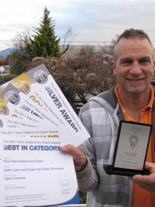 Richard Bullock displays his haul from the New Zealand Ice Cream Awards held in Queenstown on...