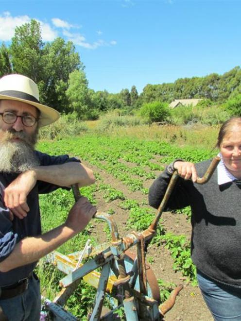 Richard Vinbrux  and his wife Christel on their self-sufficient lifestyle block in Oamaru. Photo...