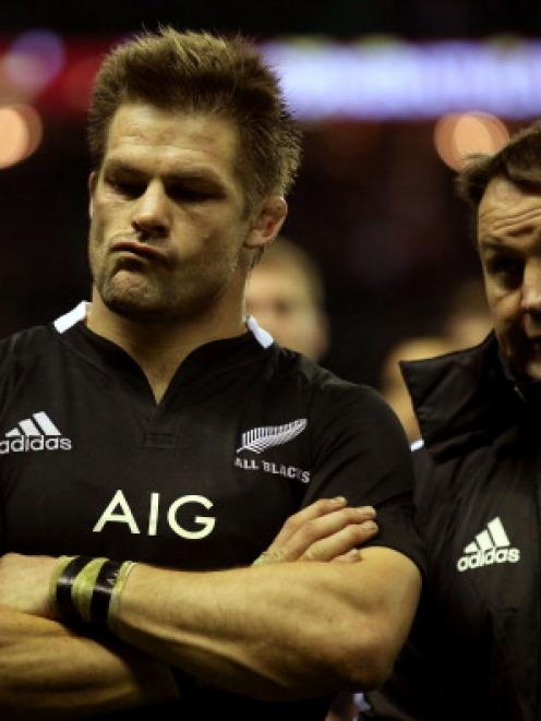 Richie McCaw and Steve Hansen after being beaten by England.  (Photo by Hannah Johnston/Getty...