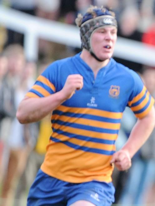 Riley McDowall plays for Taieri in the colts rugby final at the University Oval in August. Photo...