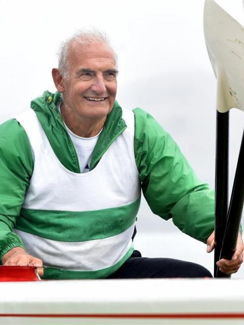 Riverton rower John Wilson before the Masters Games rowing competition at the Otago Harbour on...