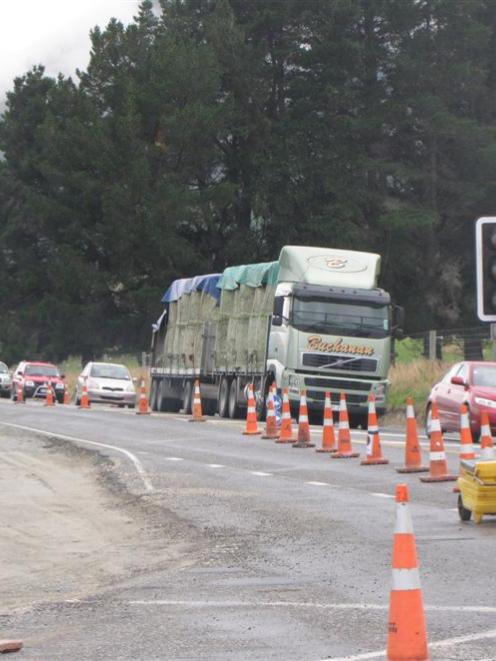 Road-widening work continues at Jacks Point intersection on State Highway 6 south of Frankton....