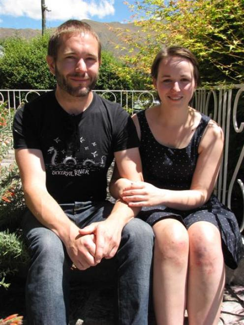 Rob Munn (32) and Suszie Tyree (23), of Dunedin, are relieved to be here to tell the tale of...