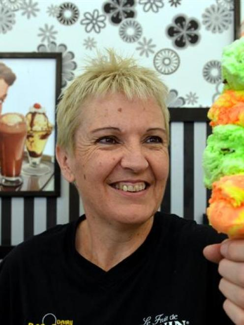 Rob Roy Dairy owner Liz Watson with one of her renowned double ice-creams. Photo by Stephen...