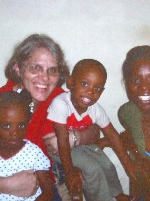 Robyn Couper With Some Haitian Friends Photo Supplied