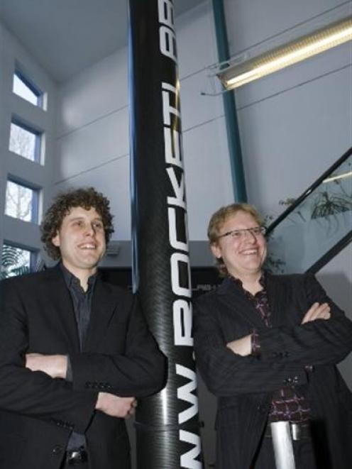Rocket Labs technical director Peter Beck (left) and business development director Mark Rocket at...