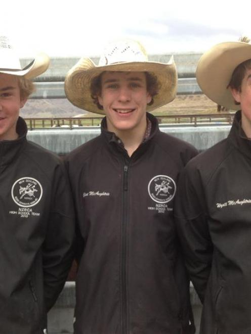 Rodeo enthusiasts Logan Cornish (left), Clint McAughtrie and Wyatt McAughtrie are looking forward...