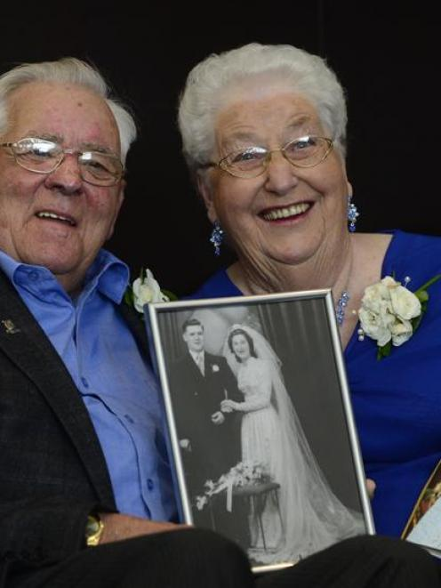 Ron and Aileen McGregor celebrate their 60th wedding anniversary at the Forsyth Barr Stadium on...