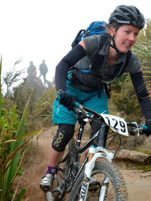 Rosara Joseph, of Wellington, races down Mount Cargill on her way to winning the open women's...