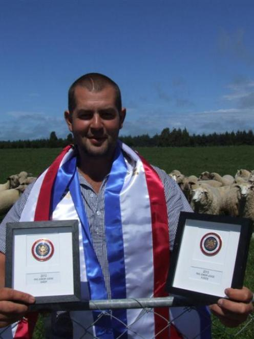 Ross McCulloch with the gold medals he won at the recent Hawkes Bay A&P Show. Photo by Sally Rae.