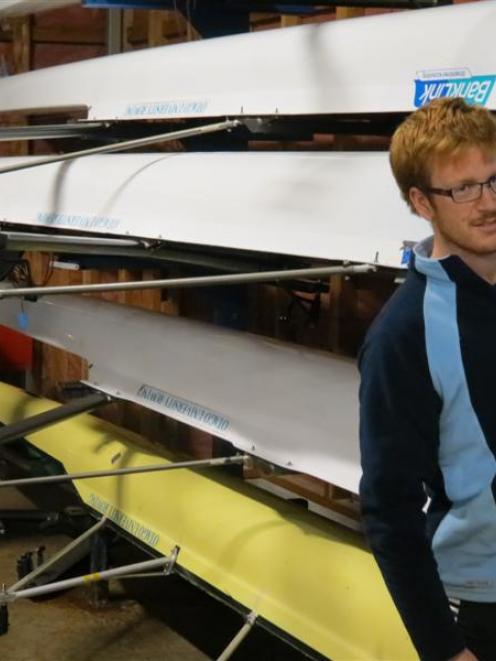 Row your boat: Otago University Rowing Club members Curtis Bush (left) and Jamie Saunders get...