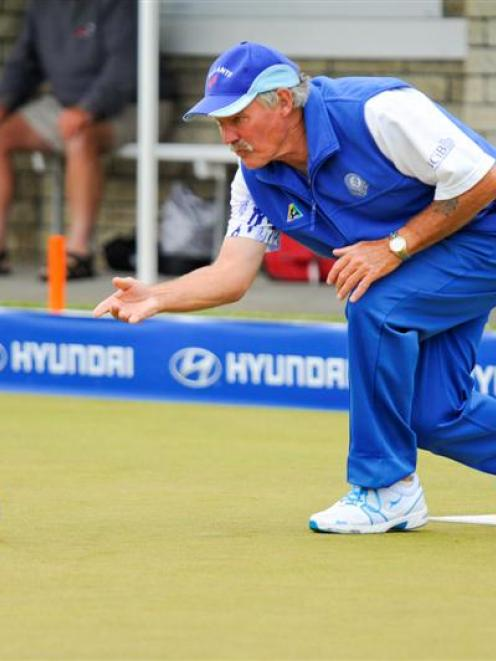 Rowan Brassey in action in the fours final at the New Zealand bowls championships in New Plymouth...