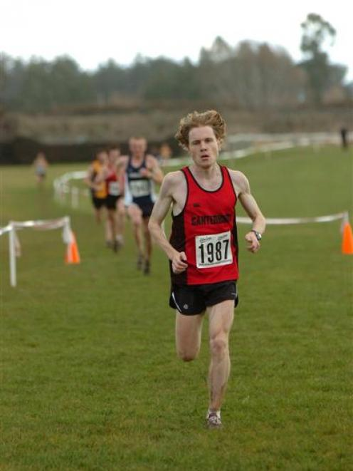 Rowan Hooper, of Canterbury, finishes second in last year's national cross-country championships...