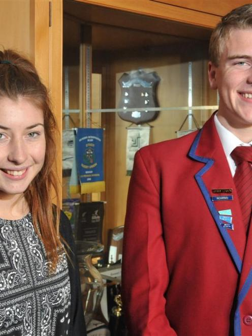 Rowers Zoe McBride (left) and Jack O'Leary were honoured at a special assembly at Kavanagh...