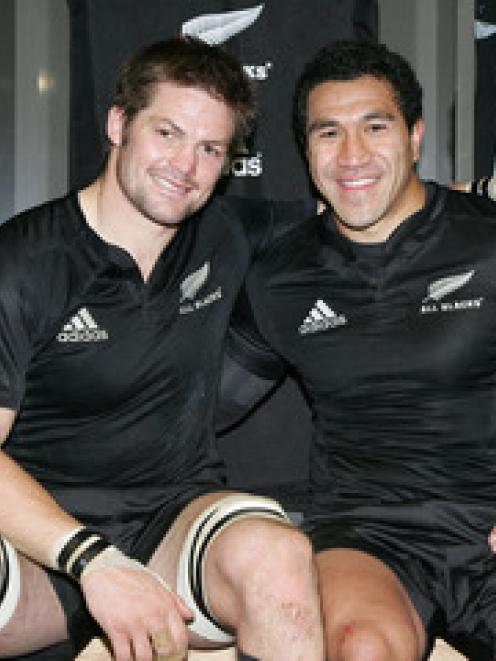 Richie McCaw and Mils Muliaina after the win over Ireland