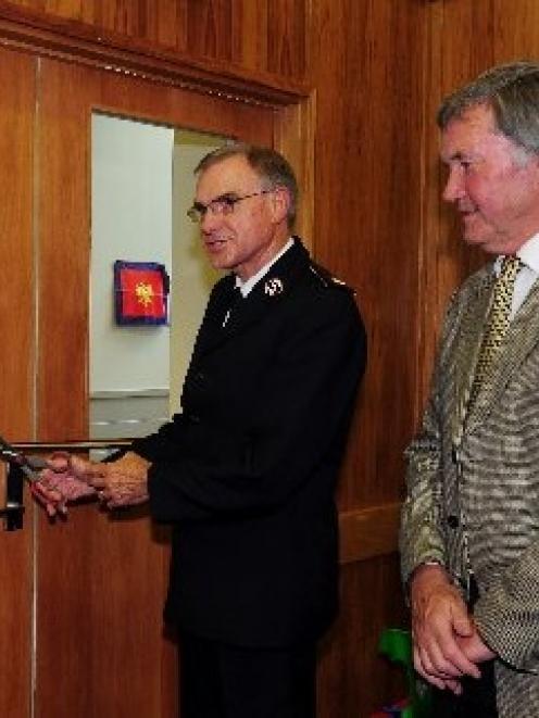 Salvation Army national commander Garth McKenzie, of Wellington, accompanied by Dunedin deputy...