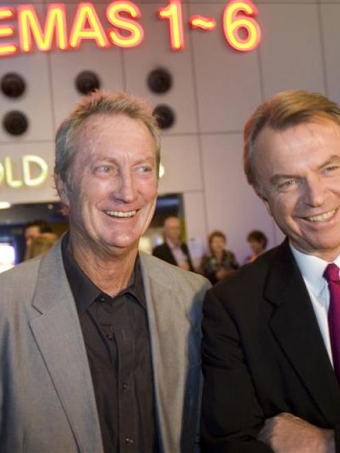 Sam Neill and his Australian co-star Bryan Brown arrive at Sky City in Auckland last night.  ...