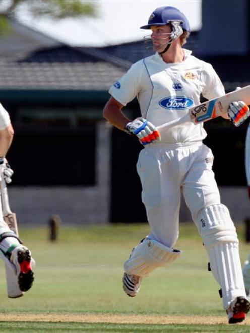 Sam Wells completes one of the 78 runs he scored during Otago's first innings in its Plunket...