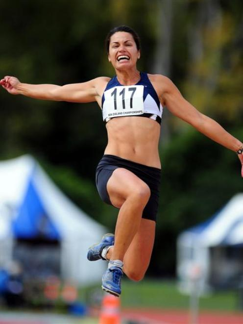 Sarah Cowley wins the women's long jump senior final at the Athletics New Zealand track and field...