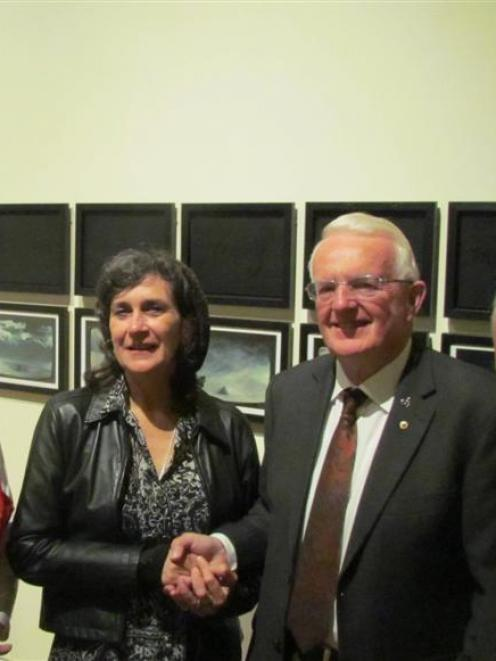 Scott 100 co-convener Helen Stead (left), with artist Juilee Pryor, Waitaki Mayor Alex Familton...