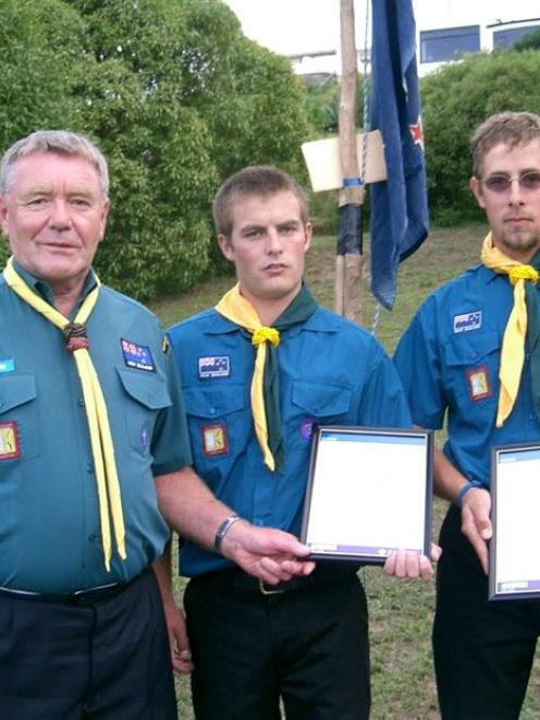 Scouts zone leader Derek Beveridge (left) with new Scout leaders Iven Cawley and Tuhi Mueller....