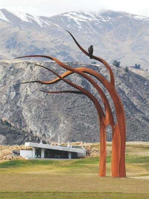 Sculpture Kelp, by artist Mark Hill, is one of more than a dozen cast iron and stainless steel...