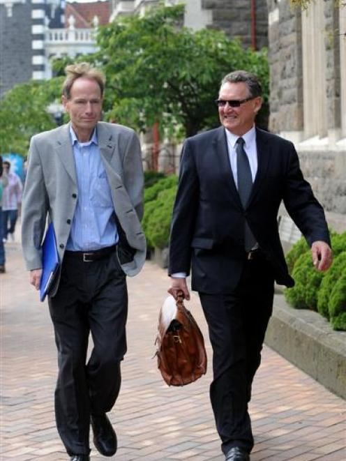 Sean Davison (left) and his lawyer, Roger Laybourn, leave the Hight Court at Dunedin following...