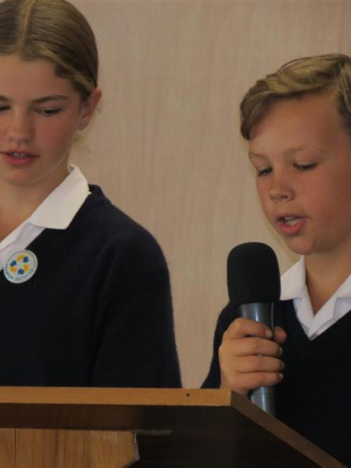 Senior KingsView School pupils Mackenzie Shewan (11) and Max Nicol (11) welcomed about 70 pupils,...