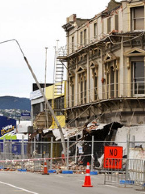 A damaged building on Manchester Street after a magnitude 4.9 aftershock