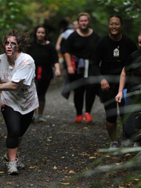 Shambling ''zombie''  University of Otago postgraduate student Paris Pidduck, presents a...
