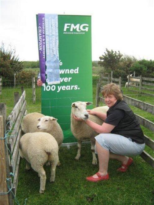 Sharon Paterson,  with her prize-winning sheep, at the Wyndham A and P Show. Photo supplied.