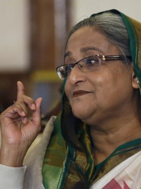 Sheikh Hasina speaks during a media conference in Dhaka. REUTERS/Andrew Biraj