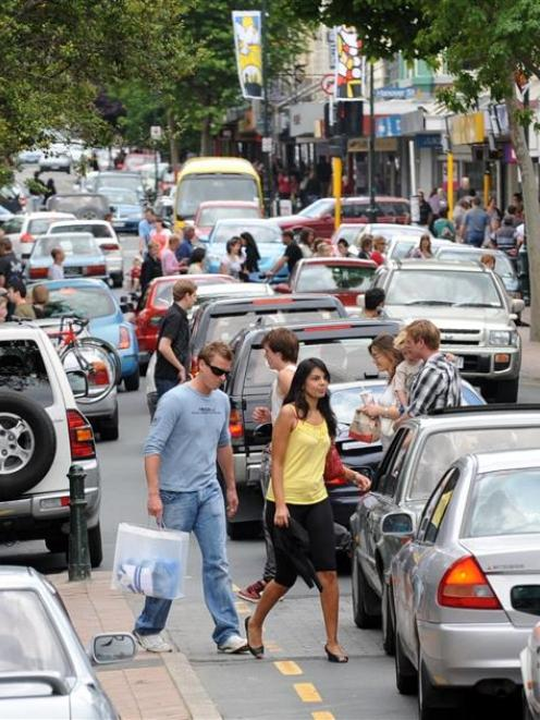 Shoppers and motorists conflict in Dunedin. Photo by Stephen Jaquiery.